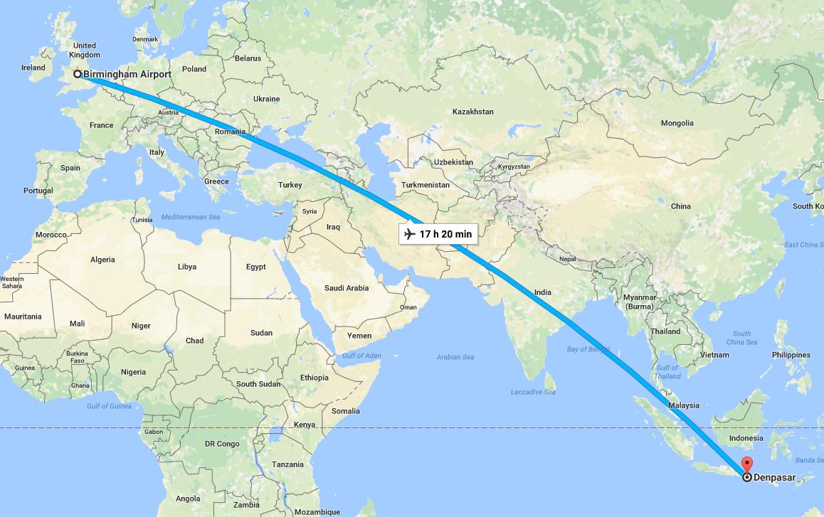 Birmingham to Denpasar